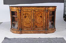A Victorian burr walnut, marquetry and gilt metal mounted side cabinet