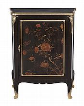 A French black lacquer and brass mounted side cabinet , circa 1870, 92cm high
