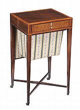 A George III mahogany and satinwood work table, circa 1790, 77cm high
