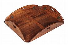 A George III mahogany butlers tray , circa 1770, with hinged sides, 72cm x 57cm