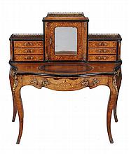 A Victorian walnut, ebonised, and marquetry inlaid Bonheur du jour, circa 1870