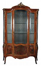 A French kingwood and gilt metal mounted vitrine, last quarter 19th century