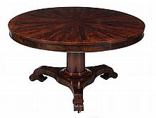 A William IV mahogany centre table , circa 1830, with radial veneered top