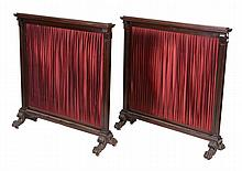 A pair of Irish mahogany fire-screens , mid19th century, 109cm high, 105cm wide