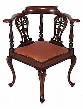 A George III mahogany corner chair , circa 1780, 82cm high, 53cm wide, 53cm deep