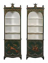 A pair of green painted and parcel gilt bookcases , 19th century, 205cm high
