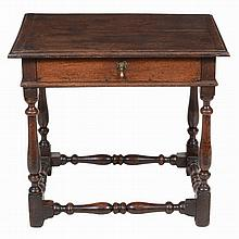 An oak side table , late 17th century, 67cm high, 73cm wide, 53cm deep