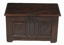 A small oak double panelled chest , 17th century, 40cm high, 66cm wide