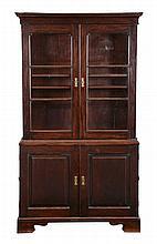 A George II mahogany cabinet bookcase, circa 1750, 184cm deep, 103cm wide