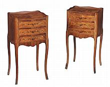 A pair of kingwood, tulipwood and marquetry bedside cupboards