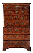 A George II figured walnut and pine chest on chest, circa 1740, 175cm high
