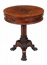 A William IV mahogany drum occasional table, circa 1835, possibly Irish