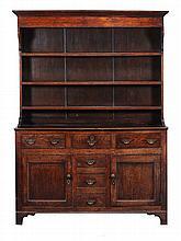 A George III oak dresser , circa 1760, 197cm high, 143cm wide, 50cm deep,