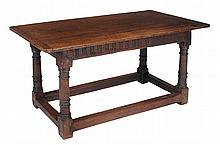 An oak refectory table, circa 1680 and later, 77cm high, the top 78cm x 161cm