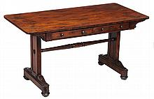 A William IV rosewood library table , circa 1830, with bookmatched top