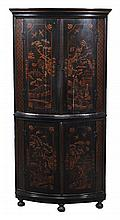 A George II Japanned two tier bow front corner cupboard , circa 1740