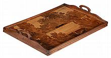 A French Art Nouveau marquetry rectangular tray by Galle