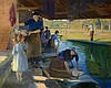 Charles Sims (1873  - 1928) - Washer women by a riverside Oil on canvas 102 x 127 cm. (40 x 50 in)