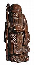 A bamboo carving of Shou Lao, 18th century , God of Longevity