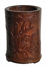 A bamboo brush pot, 17th-18th century , well carved with the drunken poet