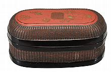 A Chinese lacquer box of oblong shape , painted with gilded designs of the...