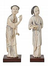 Two fine tinted ivory figures of female attendants, 18th-19th century