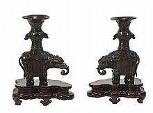 A pair of bronze caparisoned elephant incense holders, Ming dynasty