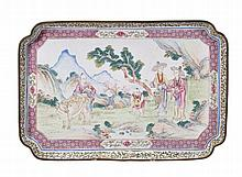 A Canton enamel tray, 18th century , of rectangular shape