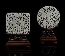 Two jade plaques, Qing dynasty , of circular and square shape