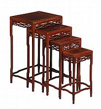 A nest of four Chinese hongmu tables, 20th century , of rectangular shape