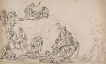 Jacobs (Paul Emil) Circle of. - Classical figure study for a flood scene,