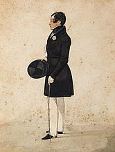 Dighton (Richard) - Full-length original portrait of a gentleman holding tophat and cane,