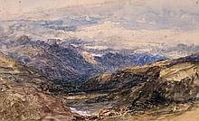 Attributed to David Cox - Mountainous landscape,