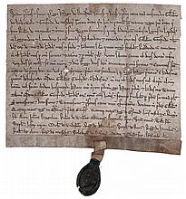 Jewish exchequer official - in medieval London.- Grant by Hugh of Dunesden to Gilbert Hakewell...