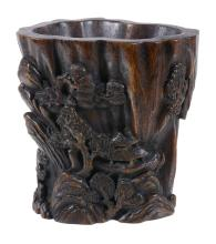 A Chinese wood brush pot, bitong, probably late Qing or early 20th century