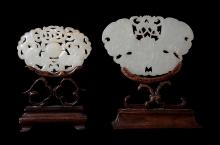 A Chinese white jade plaque , Qing, carved on each side with bats