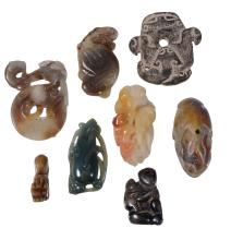 A Collection of Chinese jade and hardstone carvings, comprising