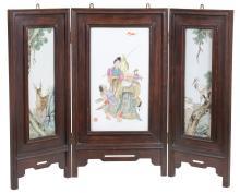 A Chinese porcelain three-fold hardwood mounted screen , signed Liu Xiren