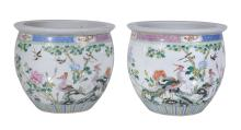 A pair of Chinese Famille Rose jardinières, late Qing