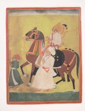 An Indian portrait of a maharajah on horseback, Jodhpur, early 19th century