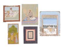 Five Indian miniature paintings , Provincial Mughal, Rajasthan
