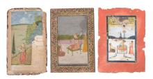Three Indian Miniature paintings , Rajasthan, 18th to19th century