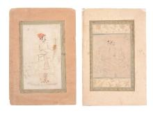 Two Mughal portrait drawings, Northern Indian, 18th century