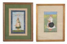 Two Indian portraits, 18th century and later, one depicting a Mughal nobleman