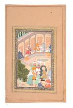 Three Indian paintings, two depicting Krishna and Radha, Jiapur