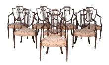 A set of eight mahogany dining chairs in late George III style