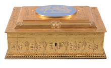 A gilt metal and porcelain mounted casket, circa 1870, of rectangular form