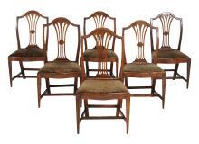 A set of six George III elm dining chairs , circa 1780