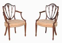 A pair of mahogany armchairs in George III style, late 19th/early 20th century