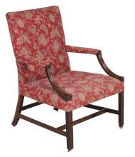 A mahogany Gainsborough armchair , circa 1790 and later, 100cm high, 71cm wide
